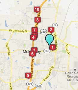 Map of McKinney, TX hotels