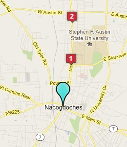 Map of Nacogdoches, TX hotels