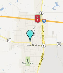 Map of New Boston, TX hotels