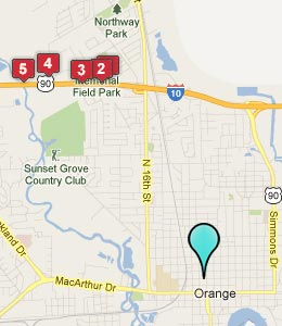 Map of Orange, TX hotels
