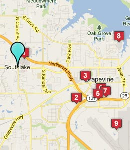 Map of Southlake, TX hotels