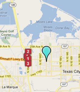 Map of Texas City, TX hotels