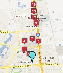 Map of The Woodlands, TX hotels