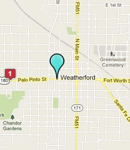 Map of Weatherford, TX hotels