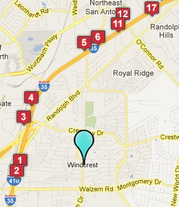 Map of Windcrest, TX hotels