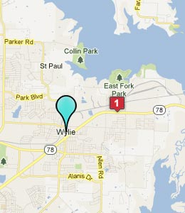 Map of Wylie, TX hotels