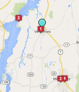 Map of Vergennes, VT hotels