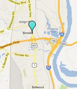 Map of Bensley, VA hotels