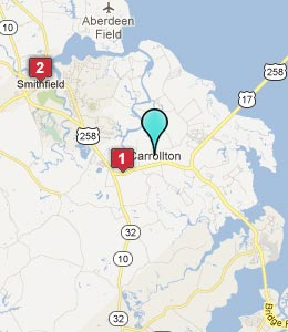 Map of Carrollton, VA hotels