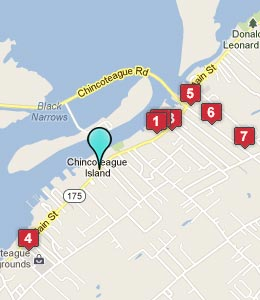 Map of Chincoteague Island, VA hotels