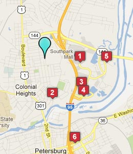 Map of Colonial Heights, VA hotels