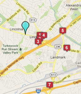 Map of Lincolnia, VA hotels