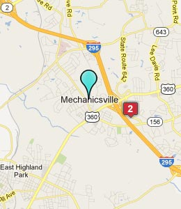 Map of Mechanicsville, VA hotels