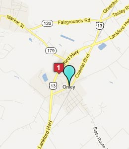 Map of Onley, VA hotels