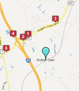 Map of Ruther Glen, VA hotels
