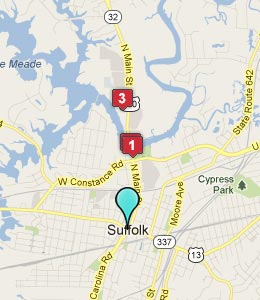 Map of Suffolk, VA hotels