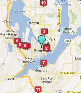 Map of Bremerton, WA hotels