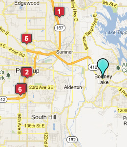 Map of Brier, WA hotels