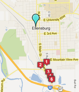Map of Ellensburg, WA hotels
