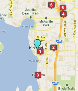 Map of Kirkland, WA hotels