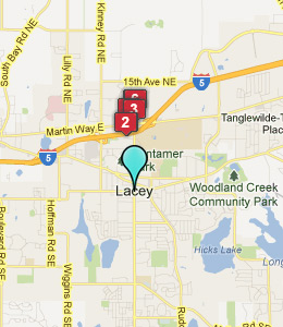 Map of Lacey, WA hotels