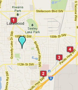 Map of Lakewood, WA hotels