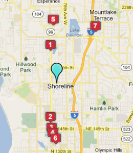 Map of Shoreline, WA hotels