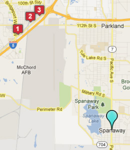 Map of Spanaway, WA hotels