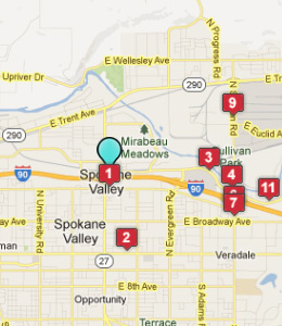 Map of Spokane Valley, WA hotels
