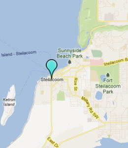 Map of Steilacoom, WA hotels