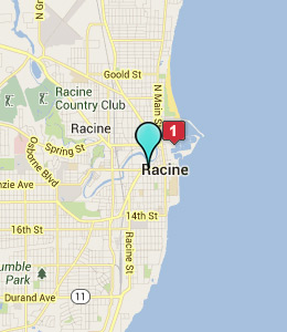 Map of Racine, WI hotels